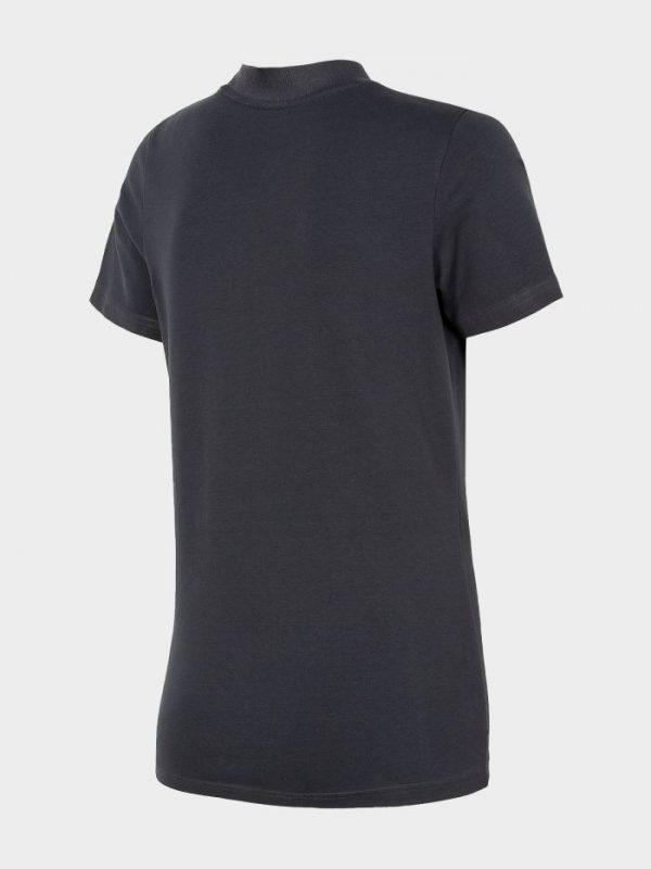 koszulka damska ze ściągaczem pod szyją 4f h4l20-tsd013 granatowa tył