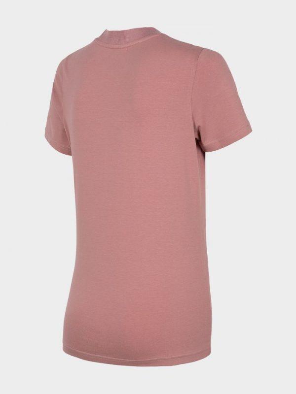 koszulka damska ze ściągaczem pod szyją 4f h4l20-tsd013 różowa tył