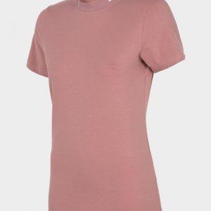 koszulka damska ze ściągaczem pod szyją 4f h4l20-tsd013 różowa przód