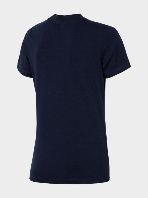 koszulka damska ze ściągaczem pod szyją 4f h4l20-tsd013 czarna tył