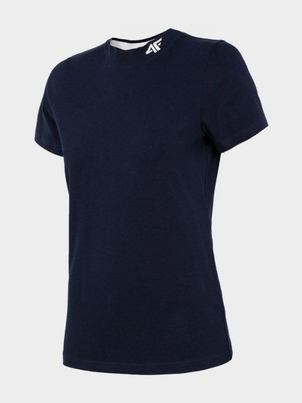 koszulka damska ze ściągaczem pod szyją 4f h4l20-tsd013 czarna przód