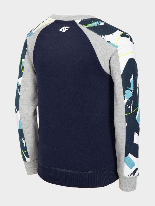 bluza chłopięca 4f hjl20-jblm003 granatowa z kolorowym deseniem tył