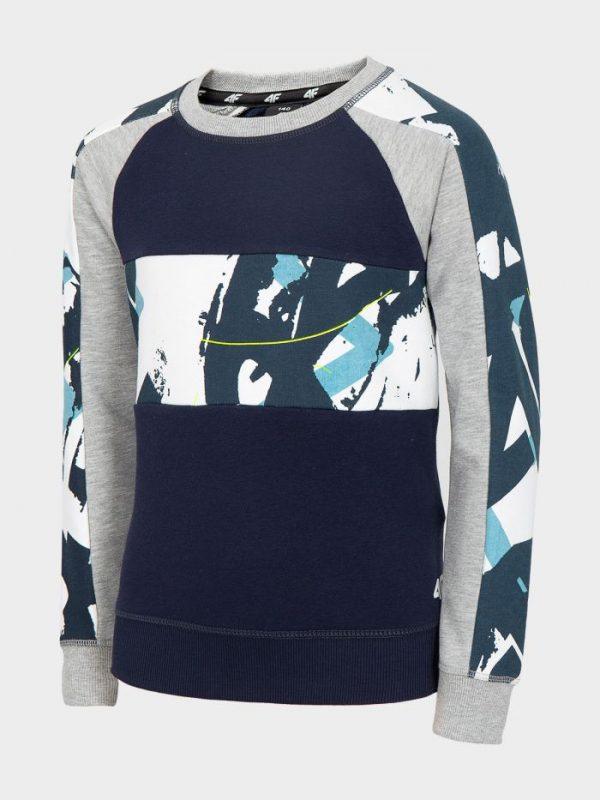 bluza chłopięca 4f hjl20-jblm003 granatowa z kolorowym deseniem przód