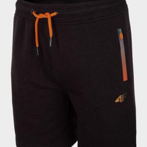 dresowe krótkie spodenki chłopięce hjl20-JSKMD001A czarne z pomarańczowym przód