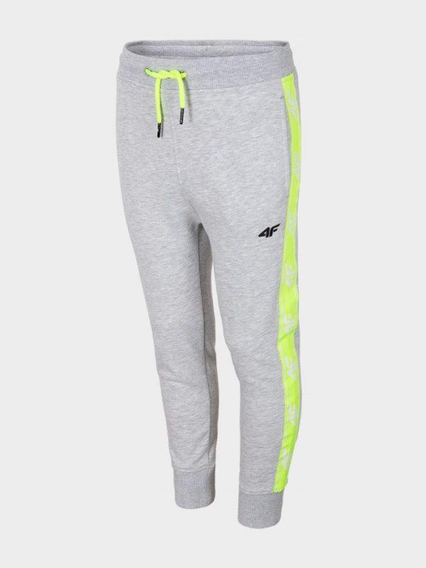 spodnie dresowe chłopięce 4f hjl20-jspmd002 szare przód