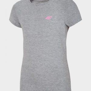 t-shirt dziewczęcy 4f hjl20-jtsd007 szary przód